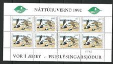 ERROR ICELAND 1992 Waterfowl Duck Stamp MISSING DENOMINATION full sheet of 8 NH