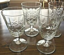 SET of 4 CROSS CUT and OLIVE cut glass Wine Water Glasses Mid Century Modern