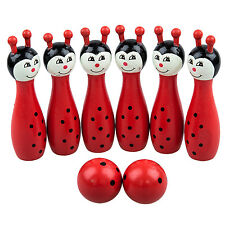 Mini Cartoon Wooden Bowling Ball Toy Set for Children ED