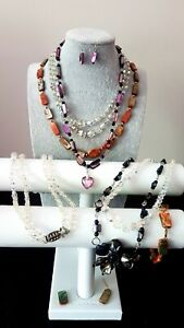 Mixed Lot of Vintage Glass Bead and Abalone Shell Necklaces need Repairing