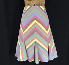 Anthropologie 10 Large ELEVENSES Skirt Pastel Chevron Rainbow Flare Seersucker