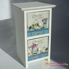 CASA in legno shabby chic di orchidee Ciondolo Gioielli Scatola Di Immagazzinaggio 2 cassetti NUOVO