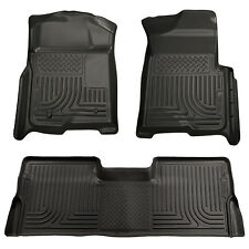 09-2014 Ford F-150 SuperCrew Black Husky WeatherBeater 1st & 2nd Row Floor Mats