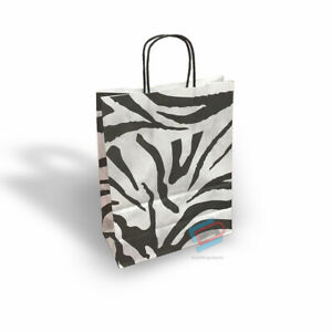 25x PAPER CARRIER BAGS TWISTED HANDLE HIGH QUALITY GIFT BOUTIQUE PZEBRA