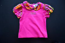 New Authentic Young Versace Infant Baby Girl Fuchsia Pink Miami Print Top (6M)