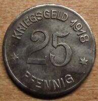 Germany Notgeld (Token) Coblenz 25 pfennig 1918 High grade!