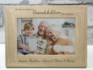 Grandchildren Personalised Engraved Photo Frame Gift Memento Grandma Grandad