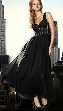 H&M CONSCIOUS Black Corset Bodice Chiffon Designer Maxi Dress Size 8 10 BNWT