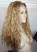 dark blonde wavy curly frizzy puffy 3/4 half head long hair wig fancy dress