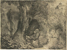Rembrandt Reproductions: St Francis beneath a Tree Praying -  Fine Art Print