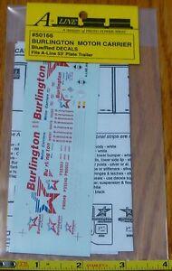 A-Line HO #50166 (Decal Set) Burlington Motor Carrier Fits: A-Line 53' Plate Tra