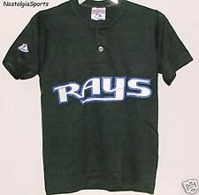CHILD's Tampa Bay Devil RAYS MLB Majestic 2-BUTTON Henley T-Shirt NWOT YOUTH MED