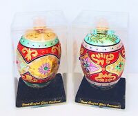 """Department 56 Glass Glittered Jeweled 4"""" Egg Ornaments Set Of 2 NEW *FREE SHIP!*"""