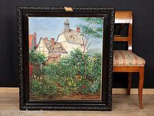 Dettmar OLIO DIPINTO ANTICO 1946 villaggio CASE CHIESA GIARDINO reticolare fiori 97x87cm