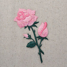 Pink Rose - Open - Petals on Stem - Iron on Applique/Embroidered Patch