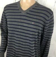 Tommy Hilfiger Pullover Sweater Striped V-Neck Long Sleeve Pima Cotton Men XL