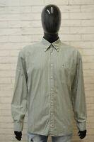 Camicia Uomo TOMMY HILFIGER Taglia 3XL Maglia Polo Cotone Shirt Hemd Righe Verde