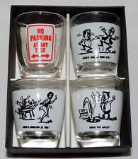 Set 4 Glass Anchor Hocking Shot Glasses Original Box Cartoon Characters