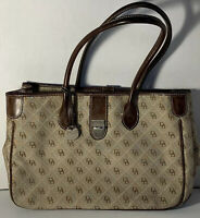 DOONEY AND BOURKE SIGNATURE CANVAS TRIM LEATHER TOTE SHOULDER BAG HANDBAG PURSE