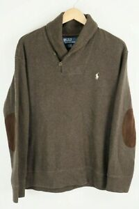 Polo Ralph Lauren Mens Sz XL Brown Long Sleeve Knit Sweater White Pony
