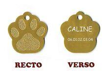 medaille animaux gravee chien ou chat - modele grande patte de chat caline - or