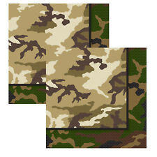 Unique Party 16 Military Camo Lunch Napkins - Army Tableware Paper Birthday