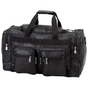 """DUFFLE TOTE BAG 21"""" Black Leather Gym Travel Carry On Luggage Shoulder Sport"""