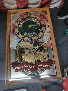 Vintage MOOSEHEAD BEER Canadian Lager Mirror Clock Sign Bar Man Cave!!!