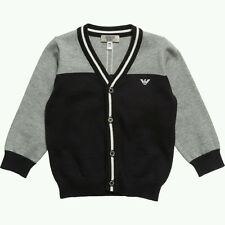 NWT NEW Armani Junior baby boys gray navy blue sweater knit cardigan 9m
