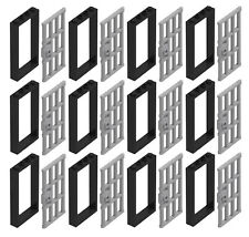 ☀️NEW LEGO X12 BLACK Door Frame 1x4x6 W/ Light Gray Handle Prison Jail Bars