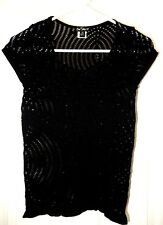One Step Up Crochet Knit Stretch Top Blouse Sweater-S/M, black
