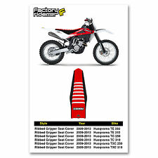 2009-2013 HUSQVARNA TE TC TXC Black/Red/White RIBBED SEAT COVER by Enjoy MFG