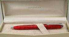 Levenger True Writer Red Marble & Chrome Ballpoint Pen - New In Box