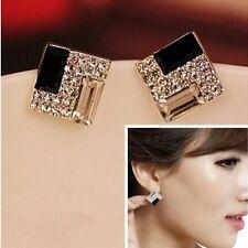 #1217 New Women's Fashion Geometric Square Black Temperament Stud Earring