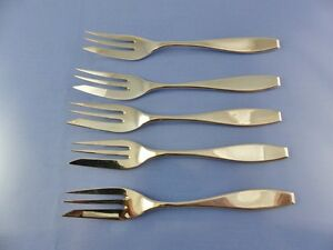 unknown PLAIN PASTRY or PIE FORK SET OF 5 .800 BY BG GERMANY