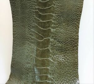 Ostrich Legs Skin Olive Green Color  (%100 Genuine Ostrich Leather)