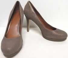 BANANA REPUBLIC BEIGE GRAY W BRONZE METALLIC SHEEN PLATFORM STILETTO PUMPS 7.5