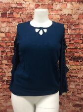 Alfani Petite Teal Ruffle-Sleeve Keyhole Sweater Size PL