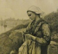 """A.Crantz Litho c 1890 nach Jules BRETON (1827-1906):""""DIE NETZFLICKERIN"""" von 1876"""