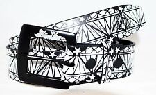 Silver Stars Men Leather Belt Black with White Graphic Large Size
