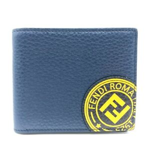 FENDI 7M0169 F stamp Bill Compartment FF Logo Bifold Wallet Leather Navy/Yellow