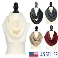 Women's Winter Warm Soft Thick Faux Fur Infinity Scarf 2 Loop Fuzzy Eternity