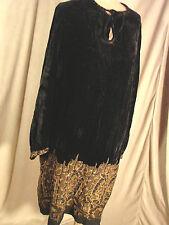 Vintage Edwardian 20s GOLD Embroidered SILK VELVET Dress DECO Black Antique  M L