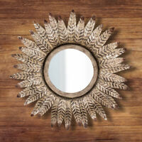 Antique Bronze Mirror Round Wall Mounted Vintage Feathered Decorative Ornate Art