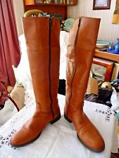 TAMARIS BEIGE BROWN KNEE LENGTH ZIP SIDE RIDING STYLE BOOTS 37 EU APPROX 4 UK