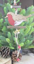Gisela Graham Noël Bois Rouge-gorge sur LOG avec cloches décoration