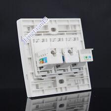 Wall Socket Plate 3 Ports Network LAN CAT6 RJ45+Telphone RJ11 Panel Faceplate