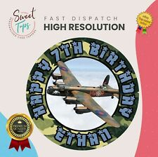 LANCASTER BOMBER ROUND EDIBLE BIRTHDAY CAKE TOPPER DECORATION PERSONALISED