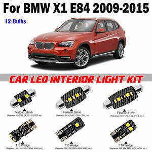 12pcs White LED Interior Light Kit For BMW X1 E84 Standard SunRoof 2009-2015