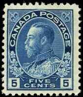 Canada #111 mint F-VF OG H tiny DG 1914 King George V 5c dark blue Admiral